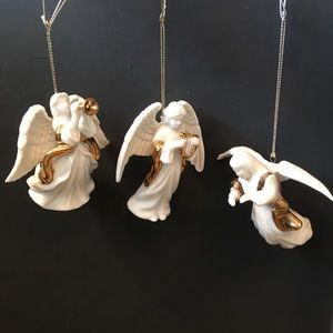 3 Ceramic Angel Christmas Ornaments